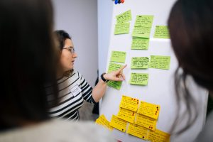 people in front of a white board with post-it notes during an innovation workshop