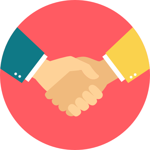 deal handshake logo with red background.