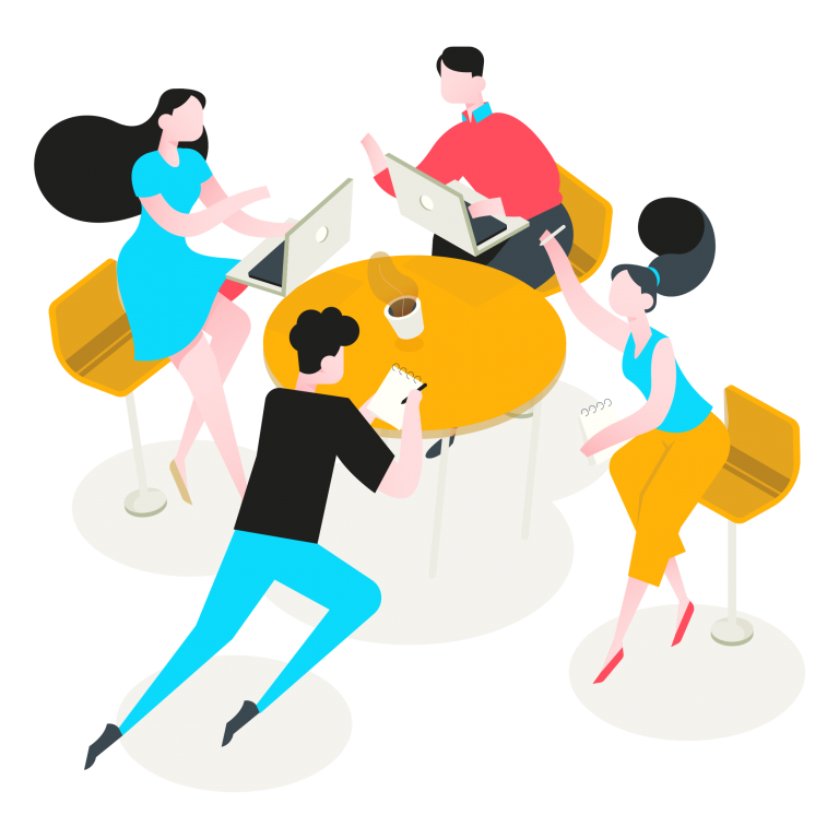Cartoon of people working at Innovating Society.