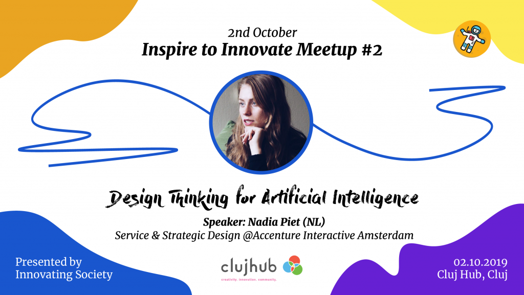 Meetup Cover for Innovating Society event Design Thinking and AI Practices for Competitive Advantage
