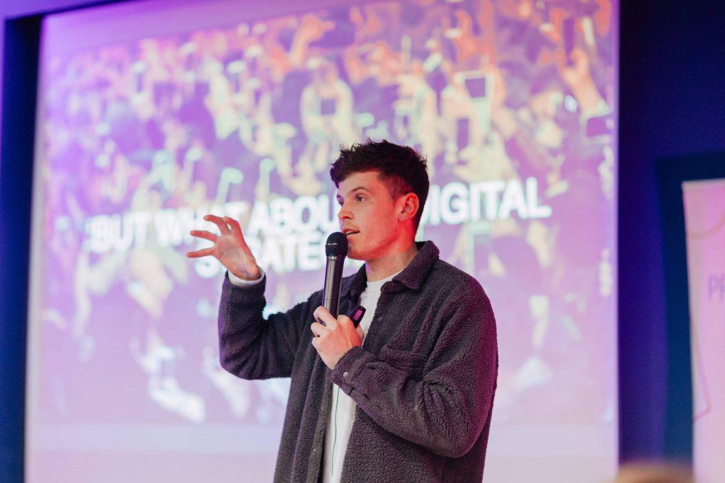 speaker talking about a brand's digital strategy
