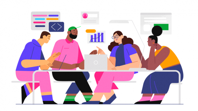 Illustration with people working over a table, symbolyzing the future of work